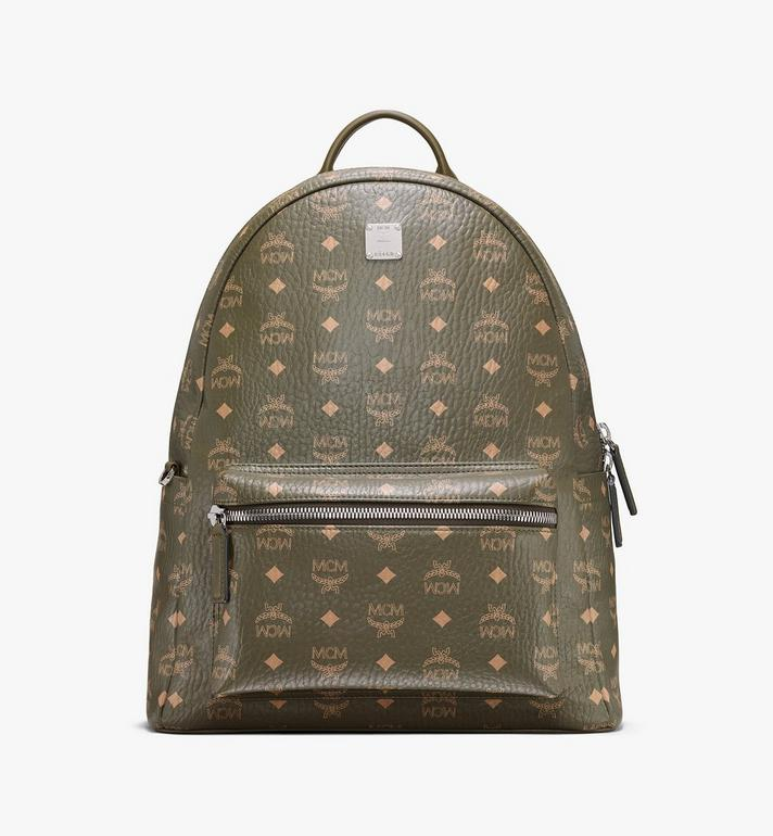 MCM Stark Side Studs Backpack in Visetos Green MMKAAVE16JH001 Alternate View 1