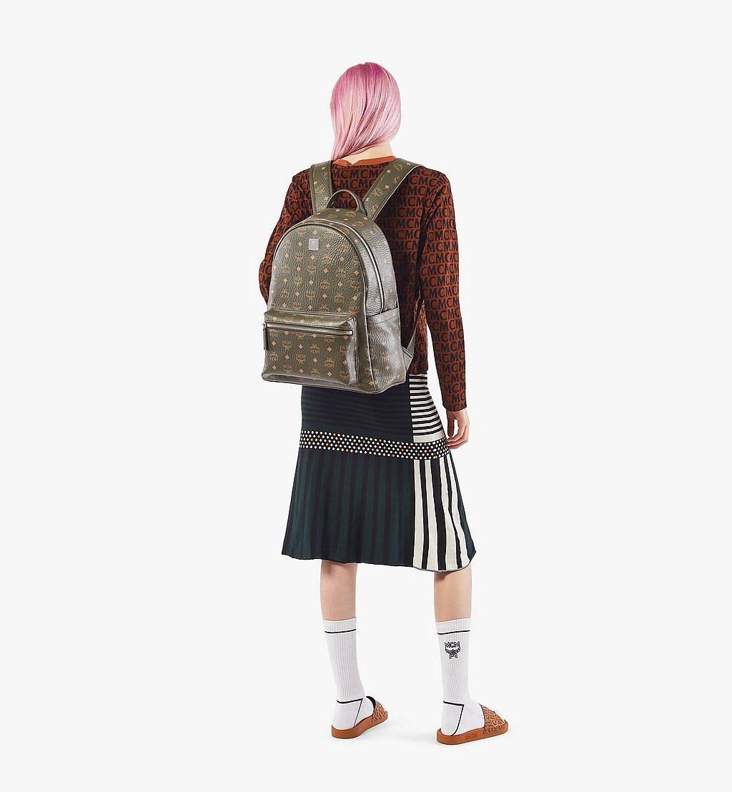 MCM Stark Side Studs Backpack in Visetos Green MMKAAVE16JH001 Alternate View 3