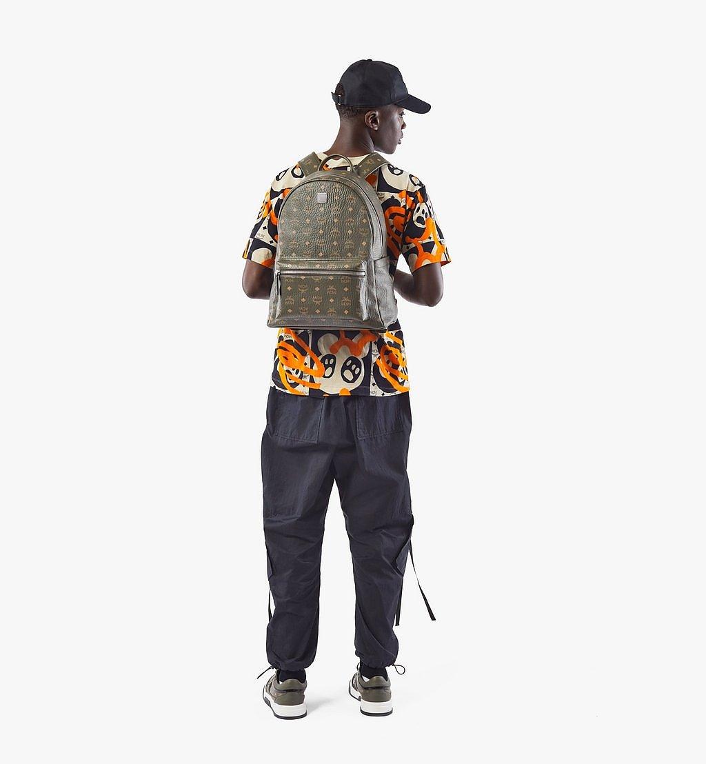 MCM Stark Side Studs Backpack in Visetos Green MMKAAVE16JH001 Alternate View 4