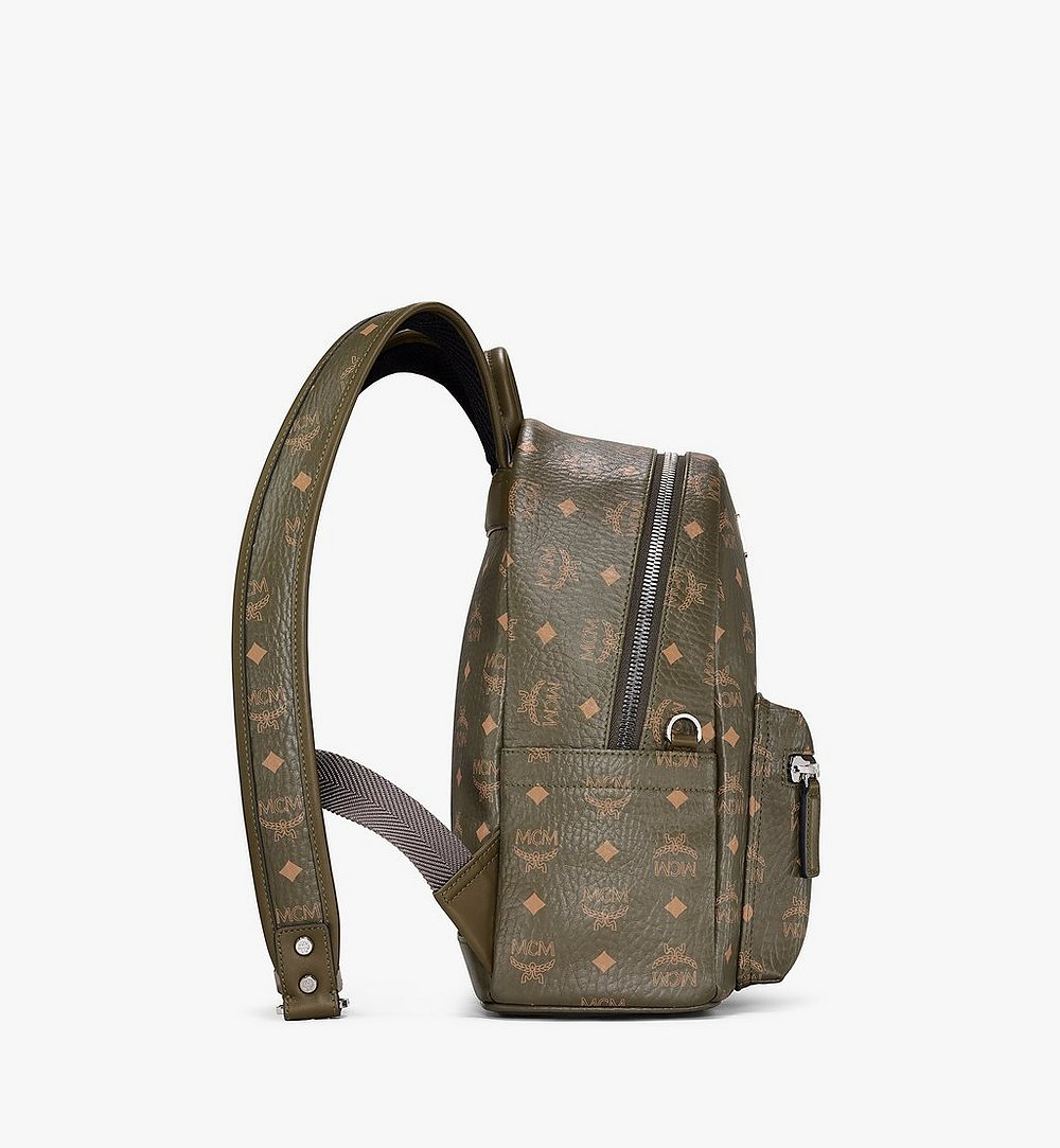 MCM Stark Side Studs Backpack in Visetos Green MMKAAVE17JH001 Alternate View 1