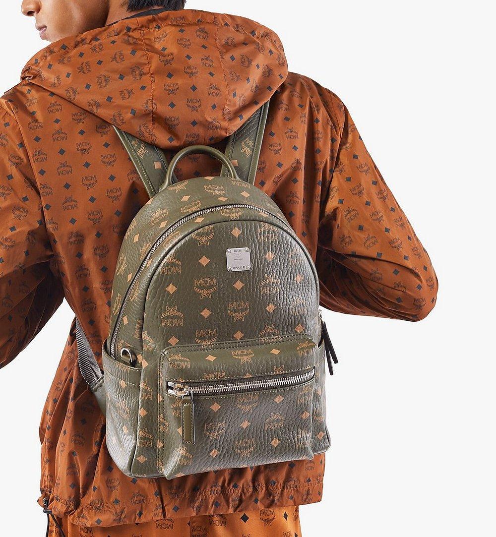 MCM Stark Side Studs Backpack in Visetos Green MMKAAVE17JH001 Alternate View 2