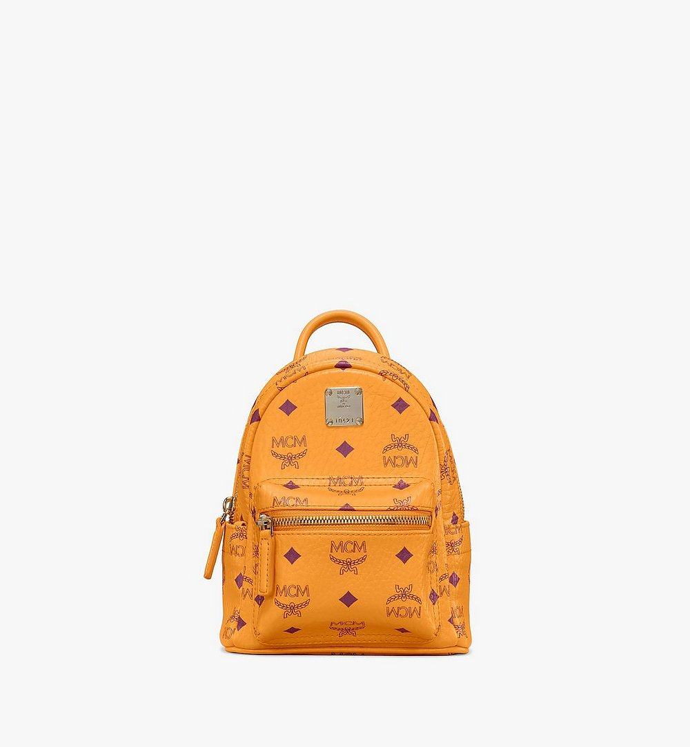MCM Stark Bebe Boo Backpack in Visetos Orange MMKAAVE18O5001 Alternate View 1