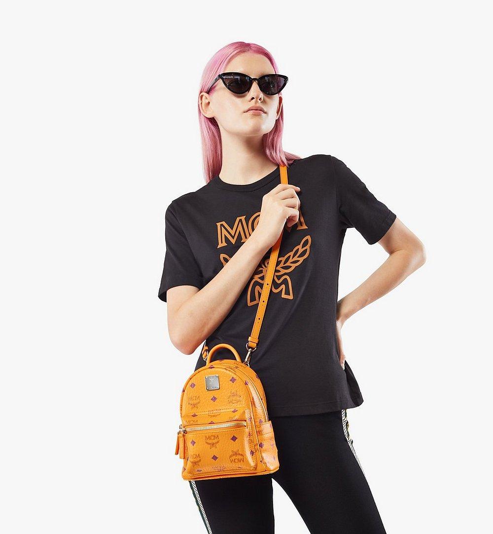 MCM Stark Bebe Boo Backpack in Visetos Orange MMKAAVE18O5001 Alternate View 2