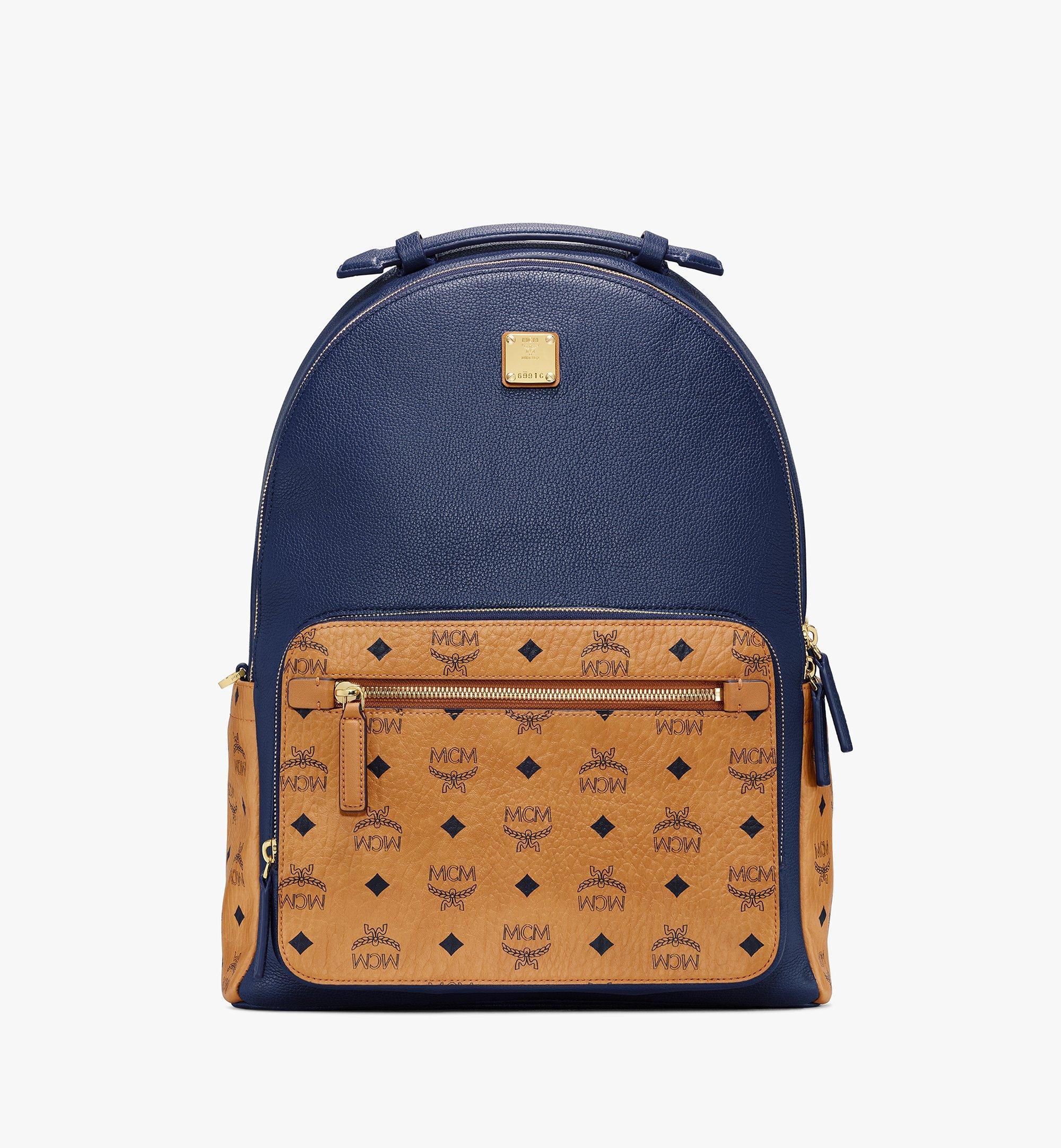 MCM Stark Backpack in Visetos Leather Block Blue MMKAAVE22VU001 Alternate View 1