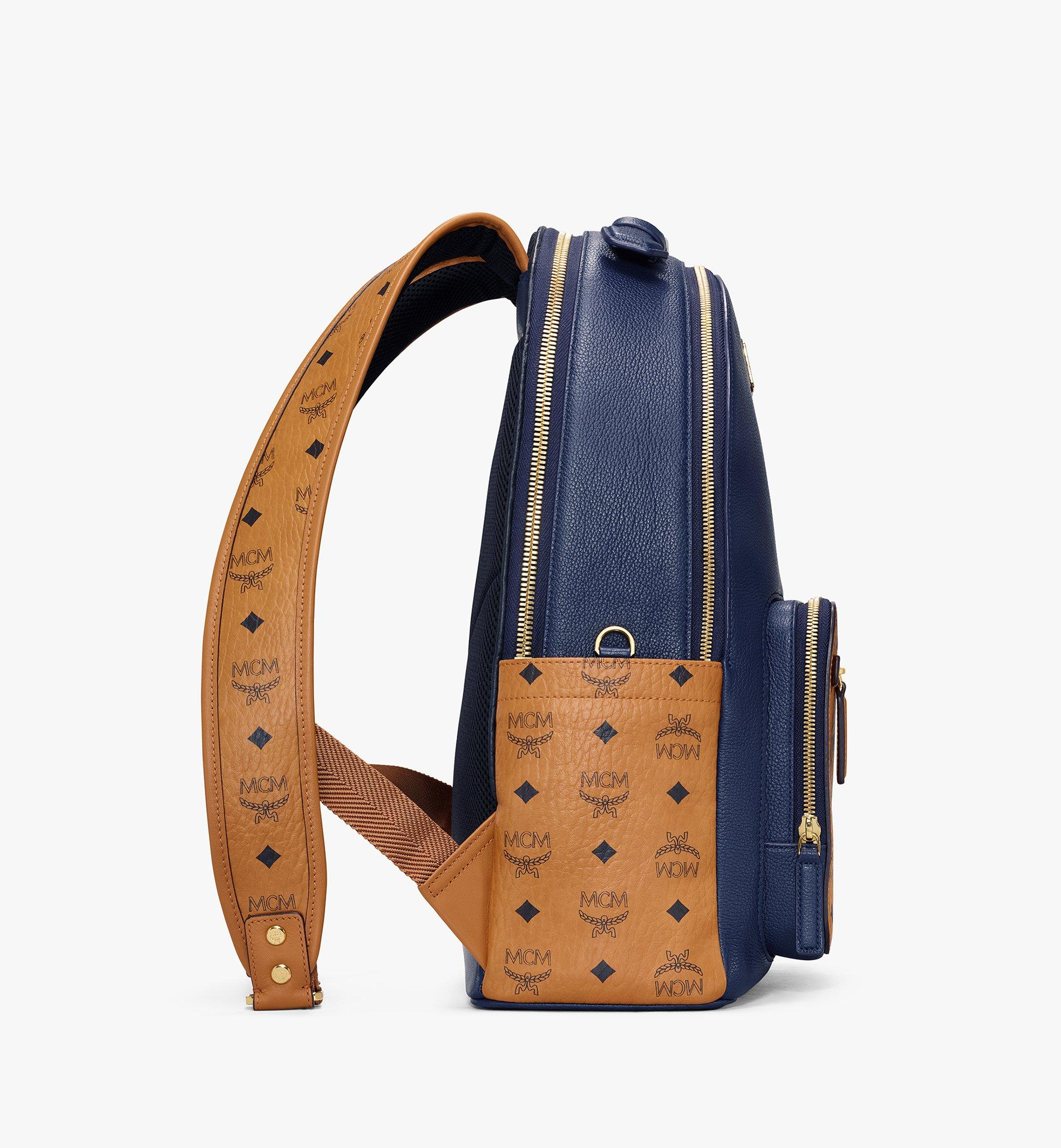 MCM Stark Backpack in Visetos Leather Block Blue MMKAAVE22VU001 Alternate View 2