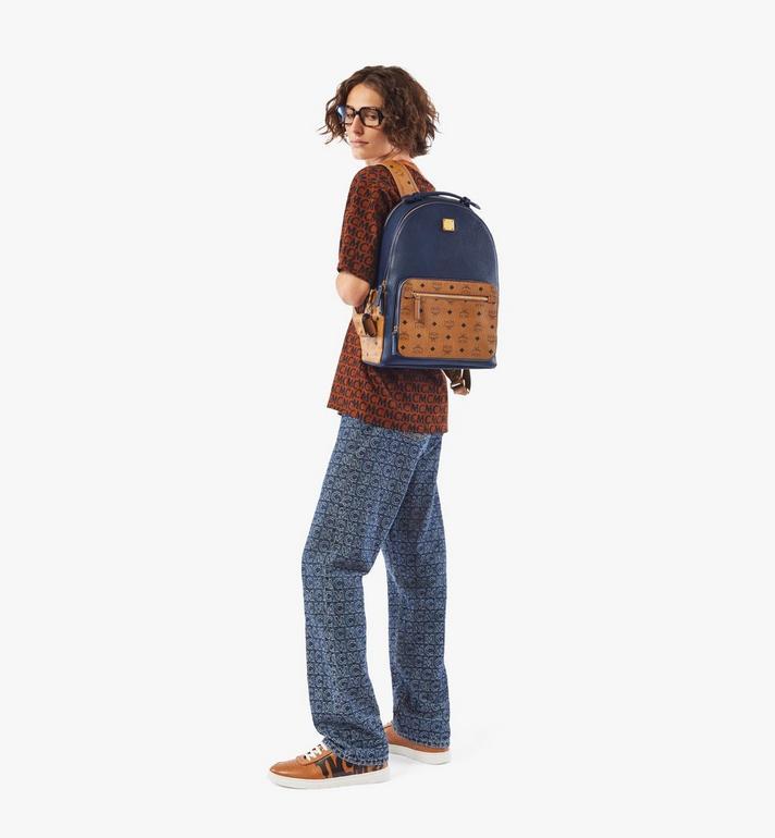MCM Stark Backpack in Visetos Leather Block Blue MMKAAVE22VU001 Alternate View 5