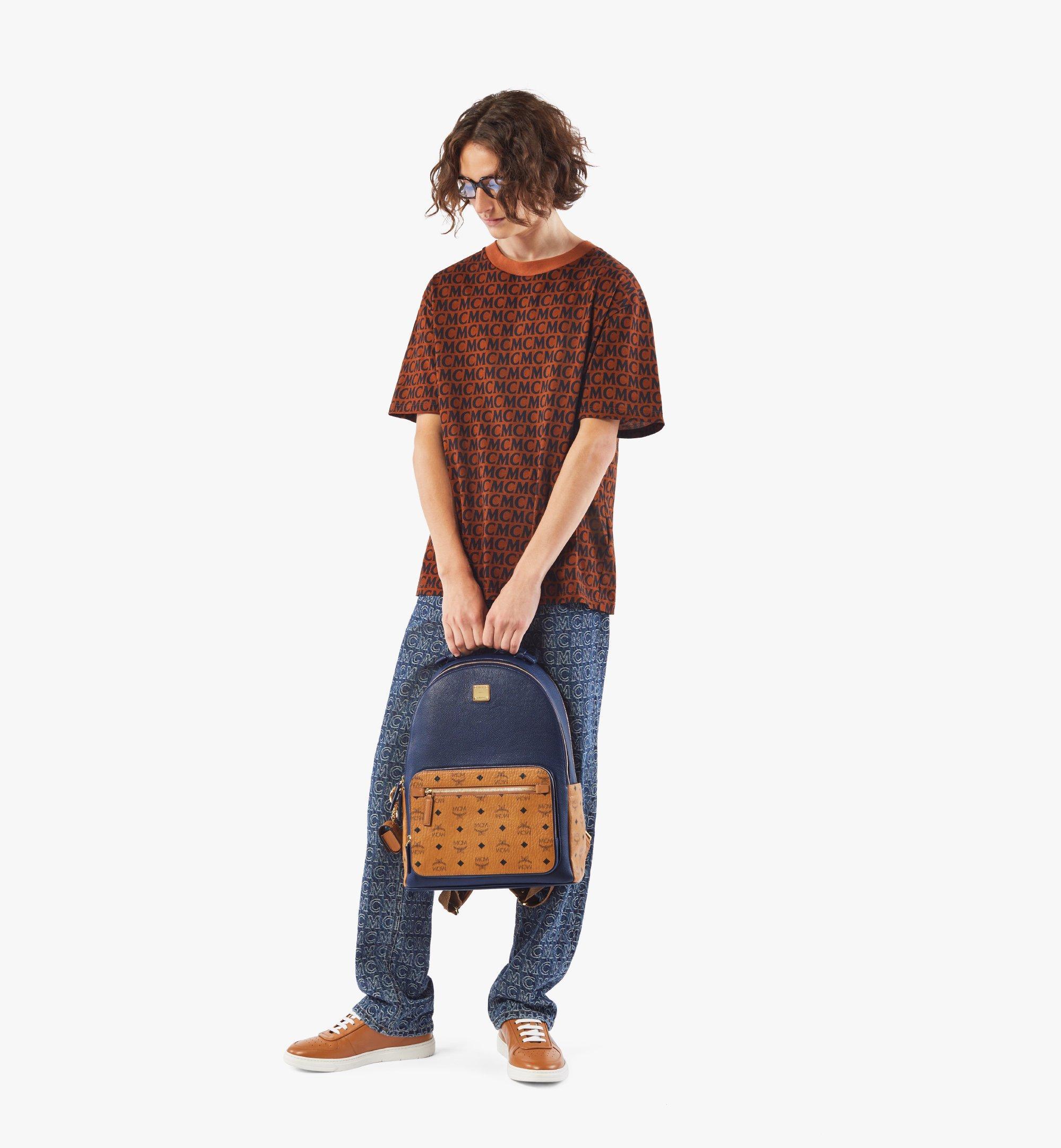 MCM Stark Backpack in Visetos Leather Block Blue MMKAAVE22VU001 Alternate View 6