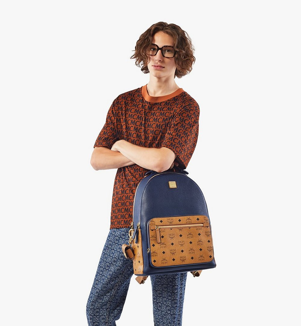 MCM Stark Backpack in Visetos Leather Block Cognac MMKAAVE22VU001 Alternate View 2