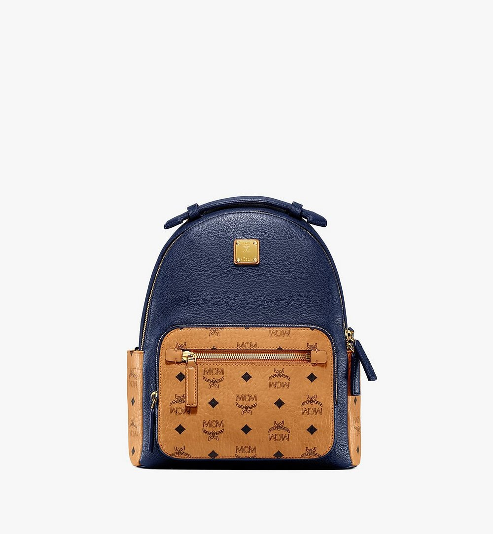 MCM Stark Backpack in Visetos Leather Block Blue MMKAAVE23VU001 Alternate View 1