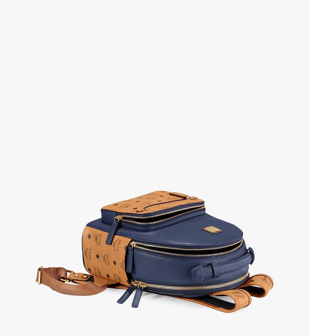MCM Stark Backpack in Visetos Leather Block Blue MMKAAVE23VU001 Alternate View 2