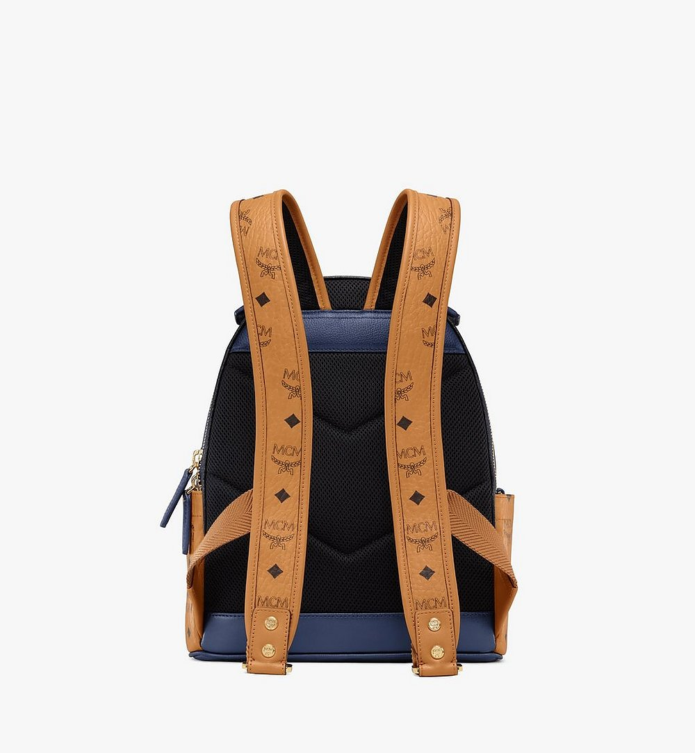 MCM Stark Backpack in Visetos Leather Block Blue MMKAAVE23VU001 Alternate View 3