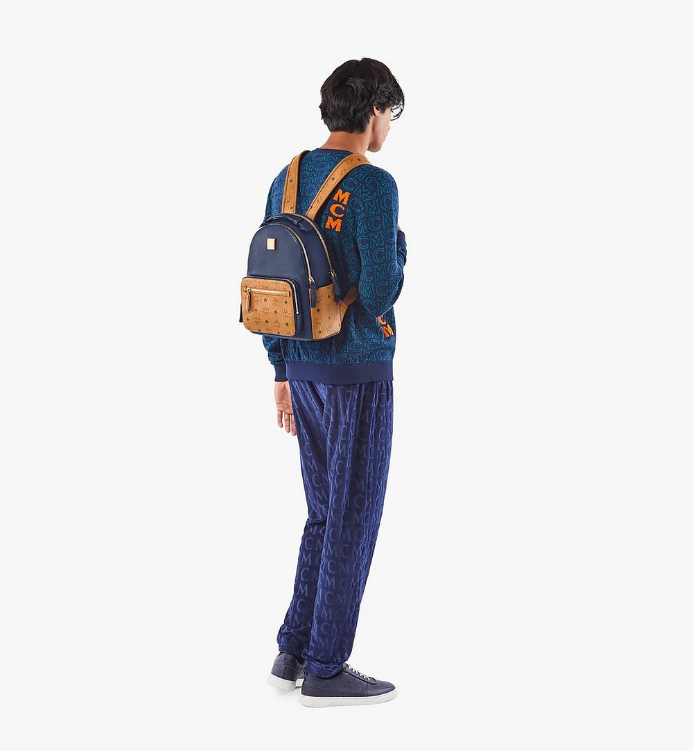 MCM Stark Backpack in Visetos Leather Block Blue MMKAAVE23VU001 Alternate View 5