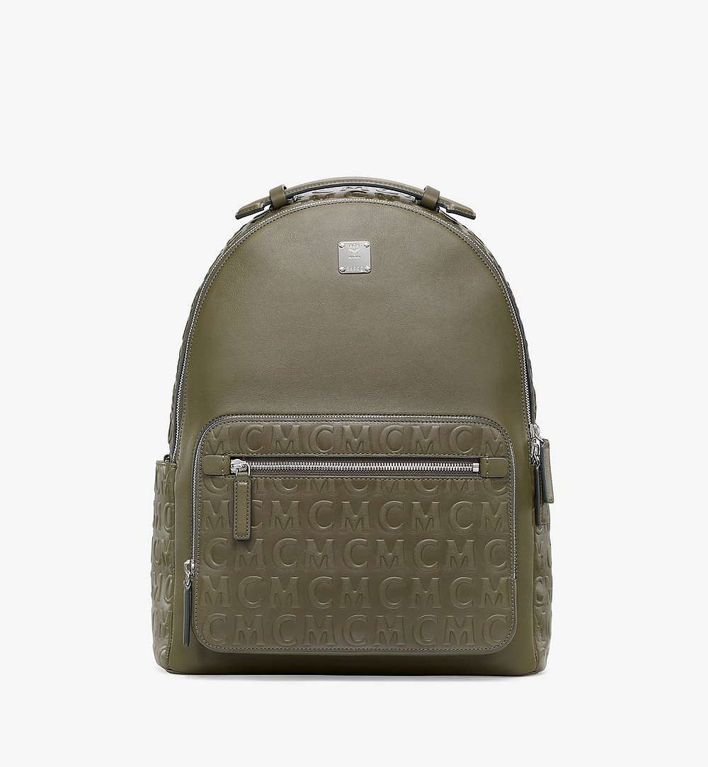 MCM Stark Backpack in MCM Monogram Leather Green MMKAAVE25JH001 Alternate View 1