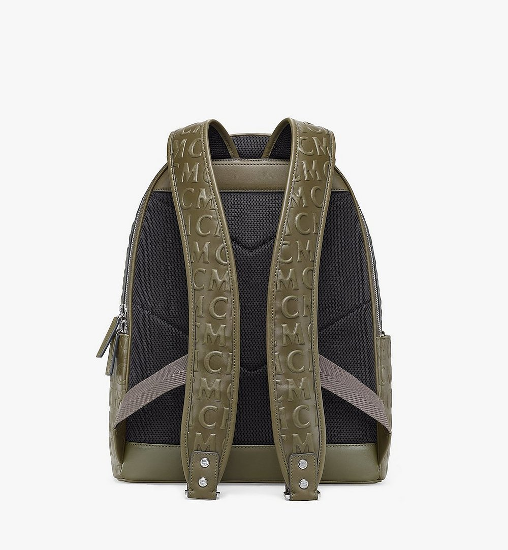 MCM Stark Backpack in MCM Monogram Leather Green MMKAAVE25JH001 Alternate View 3