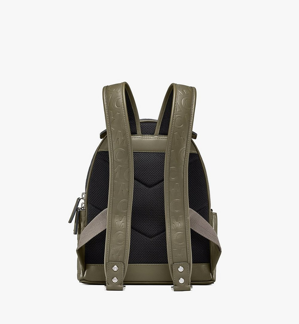 MCM Stark Backpack in MCM Monogram Leather Green MMKAAVE26JH001 Alternate View 3