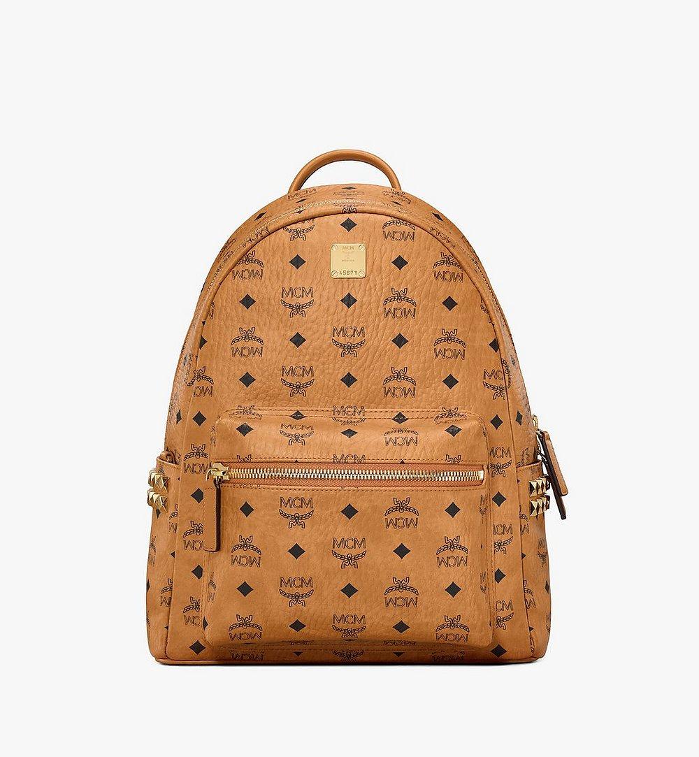 MCM Stark Side Studs Backpack in Visetos Cognac MMKAAVE32CO001 Alternate View 1