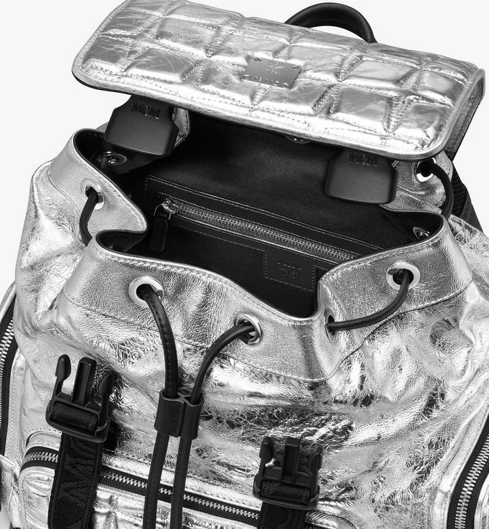 MCM Brandenburg Rucksack aus Steppleder mit Rautenmuster Silver MMKASBG01SA001 Alternate View 4