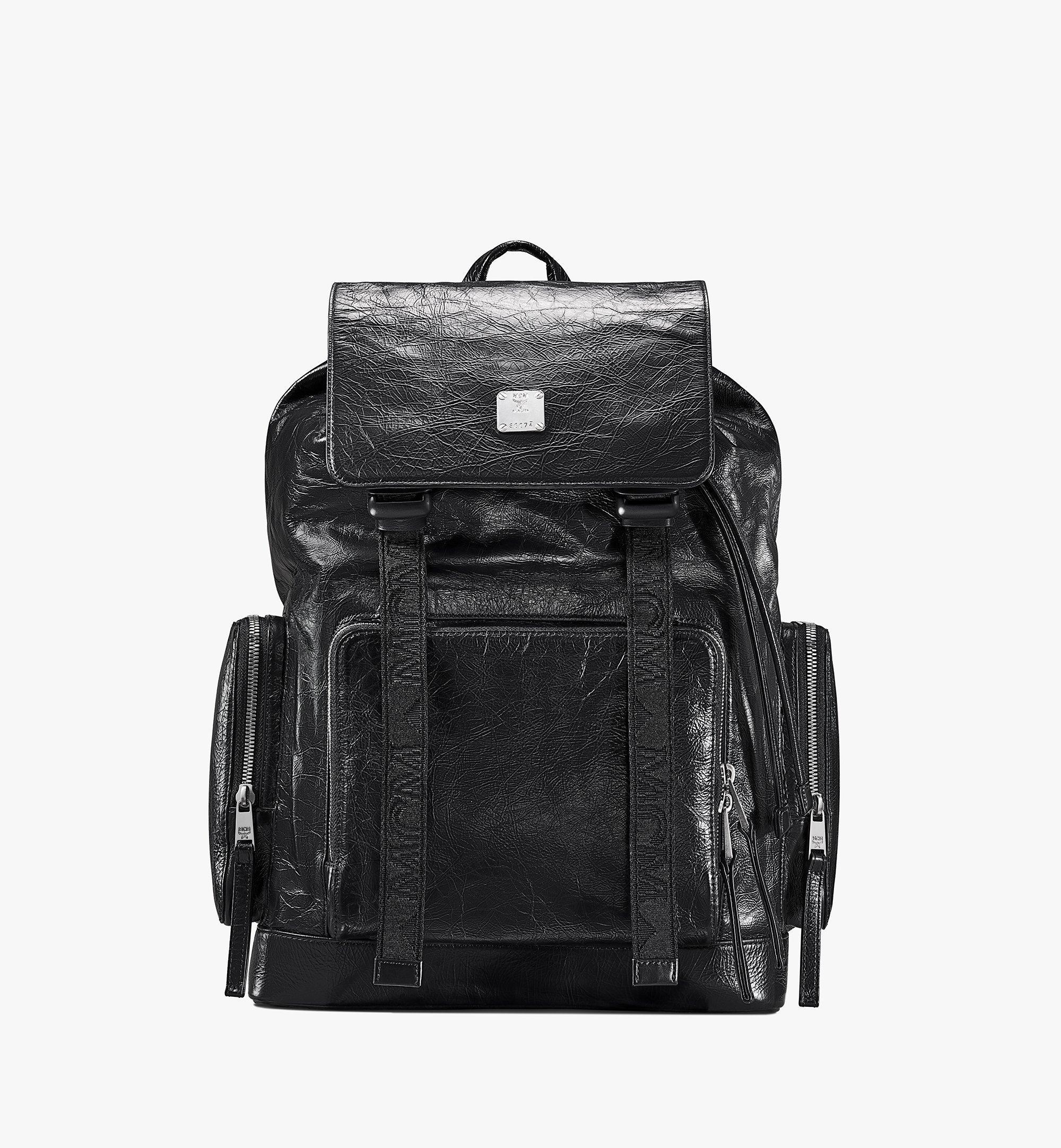 MCM Brandenburg Backpack in Crushed Leather Black MMKASBG02BK001 Alternate View 1