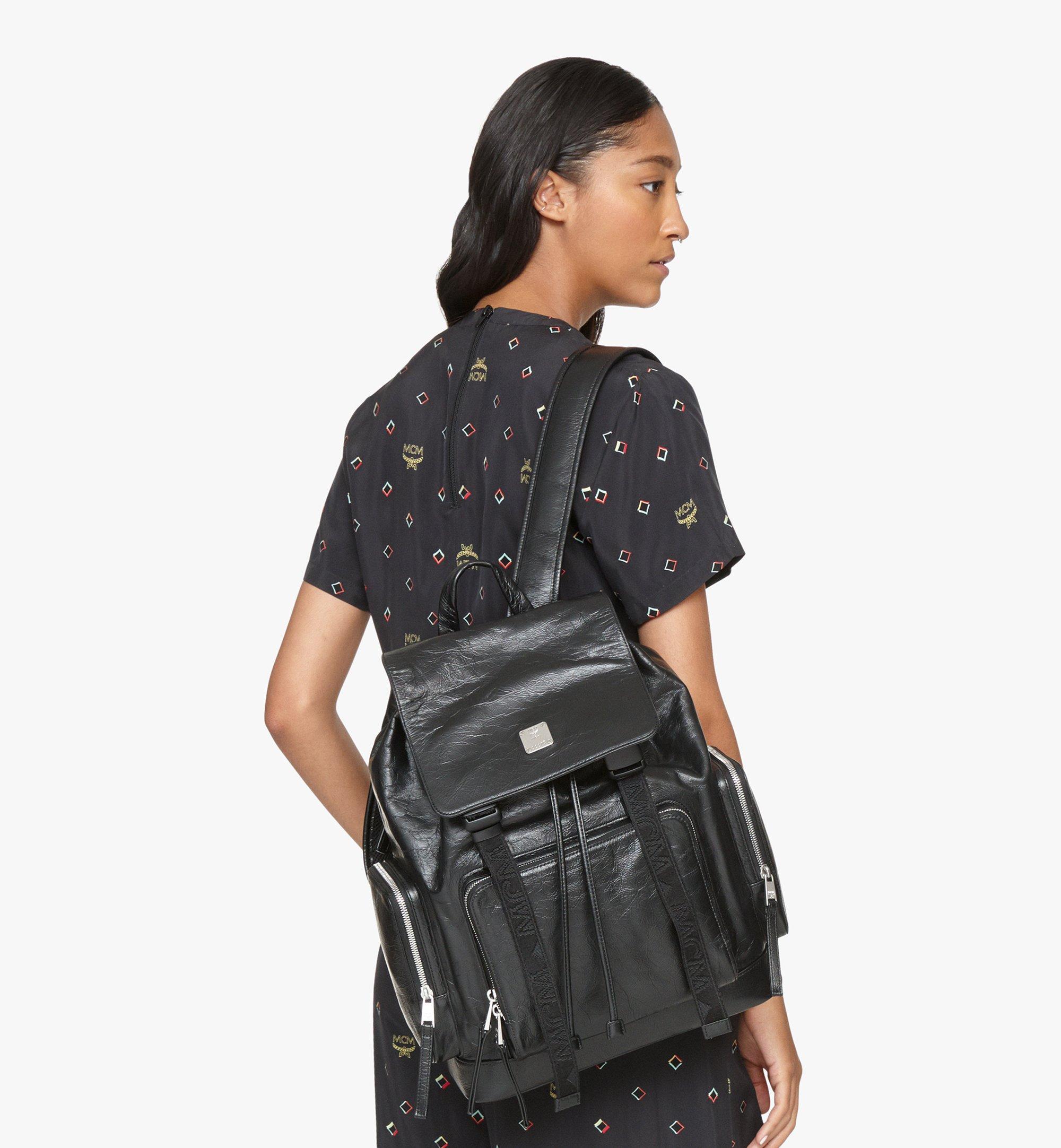 MCM Brandenburg Backpack in Crushed Leather Black MMKASBG02BK001 Alternate View 6