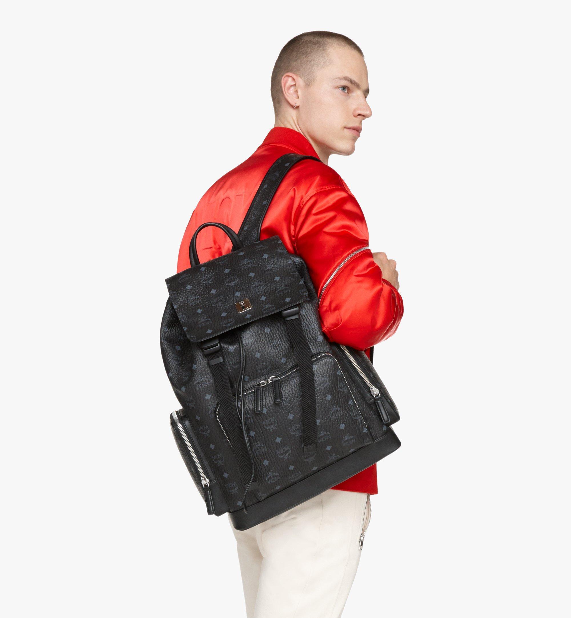 MCM Brandenburg Backpack in Visetos Black MMKASBG03BK001 Alternate View 7