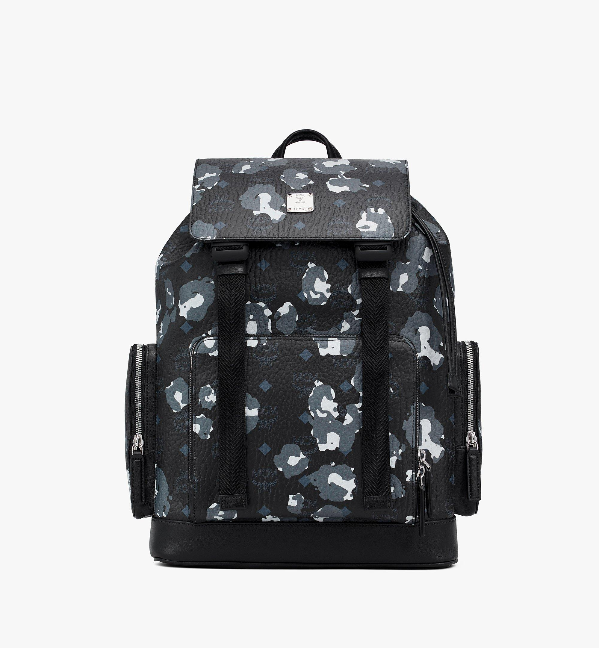 MCM Brandenburg Backpack in Floral Leopard Black MMKASBG06B1001 Alternate View 1