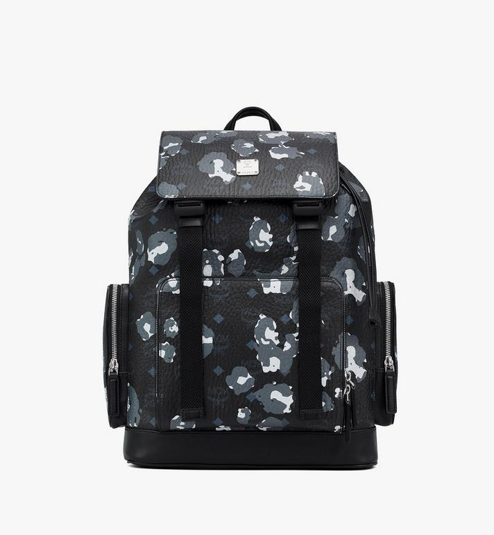 MCM Brandenburg Backpack in Floral Leopard Black MMKASBG06B1001 Alternate View 1