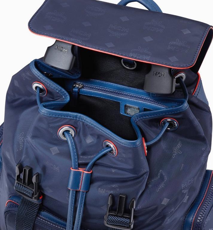 MCM Brandenburg Backpack in Monogram Nylon Blue MMKASBG08VA001 Alternate View 4