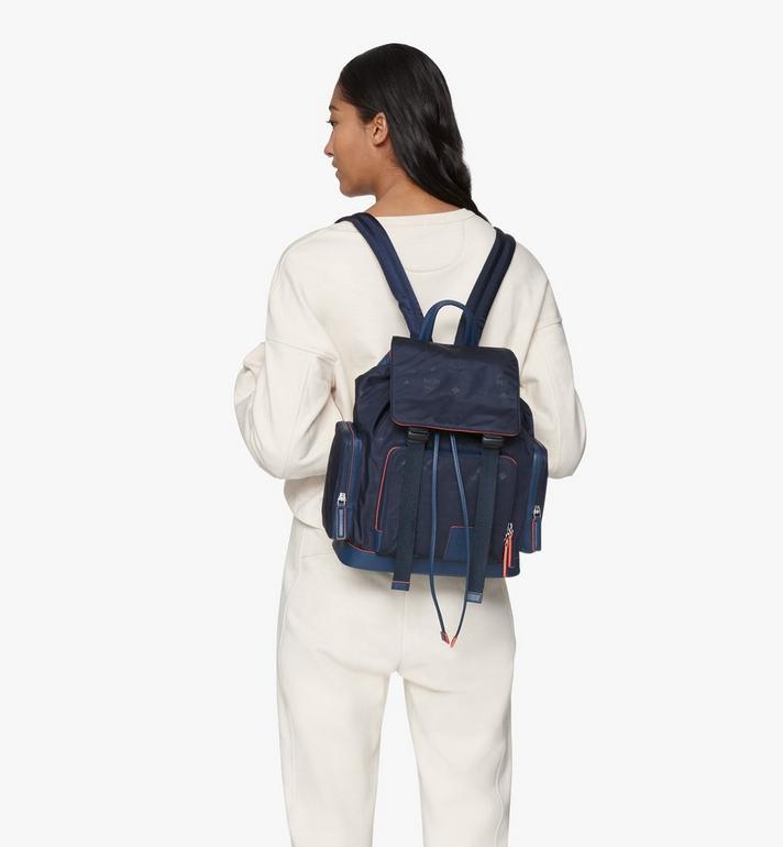 MCM Brandenburg Backpack in Monogram Nylon Blue MMKASBG08VA001 Alternate View 6