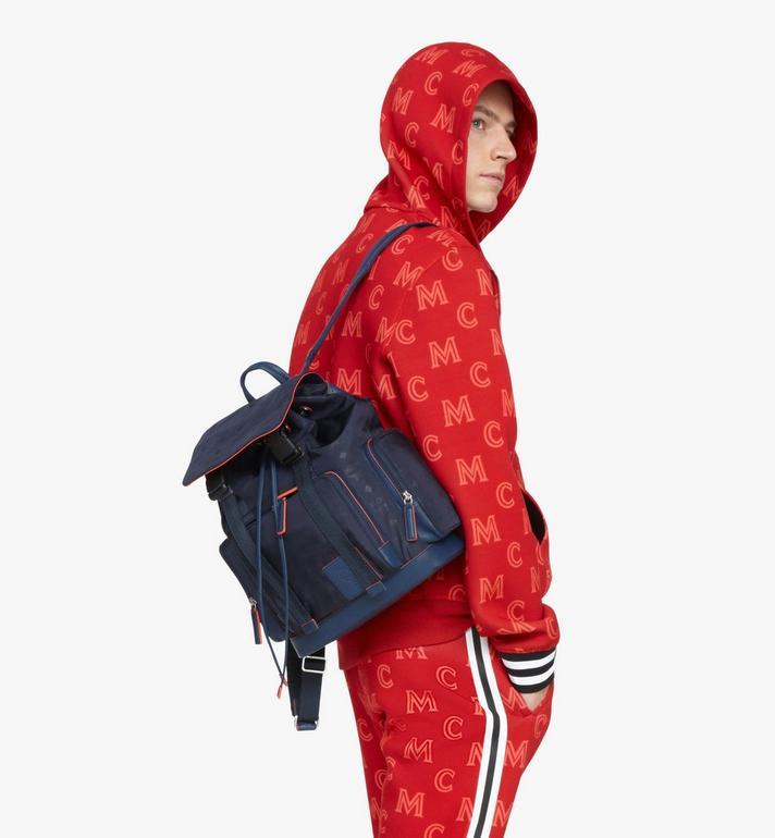 MCM Brandenburg Backpack in Monogram Nylon Blue MMKASBG08VA001 Alternate View 8