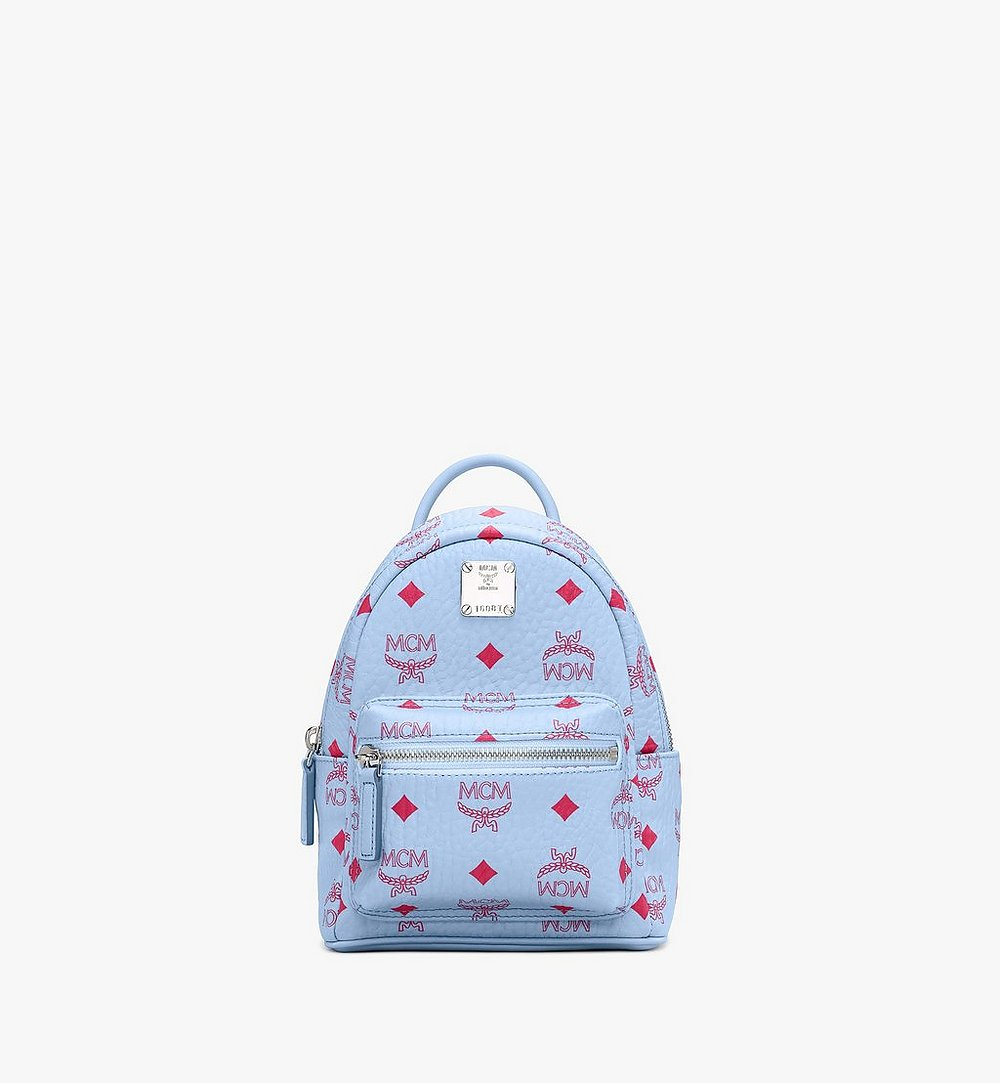 MCM Stark Bebo Boo Backpack in Visetos Blue MMKASVE14H2001 Alternate View 1