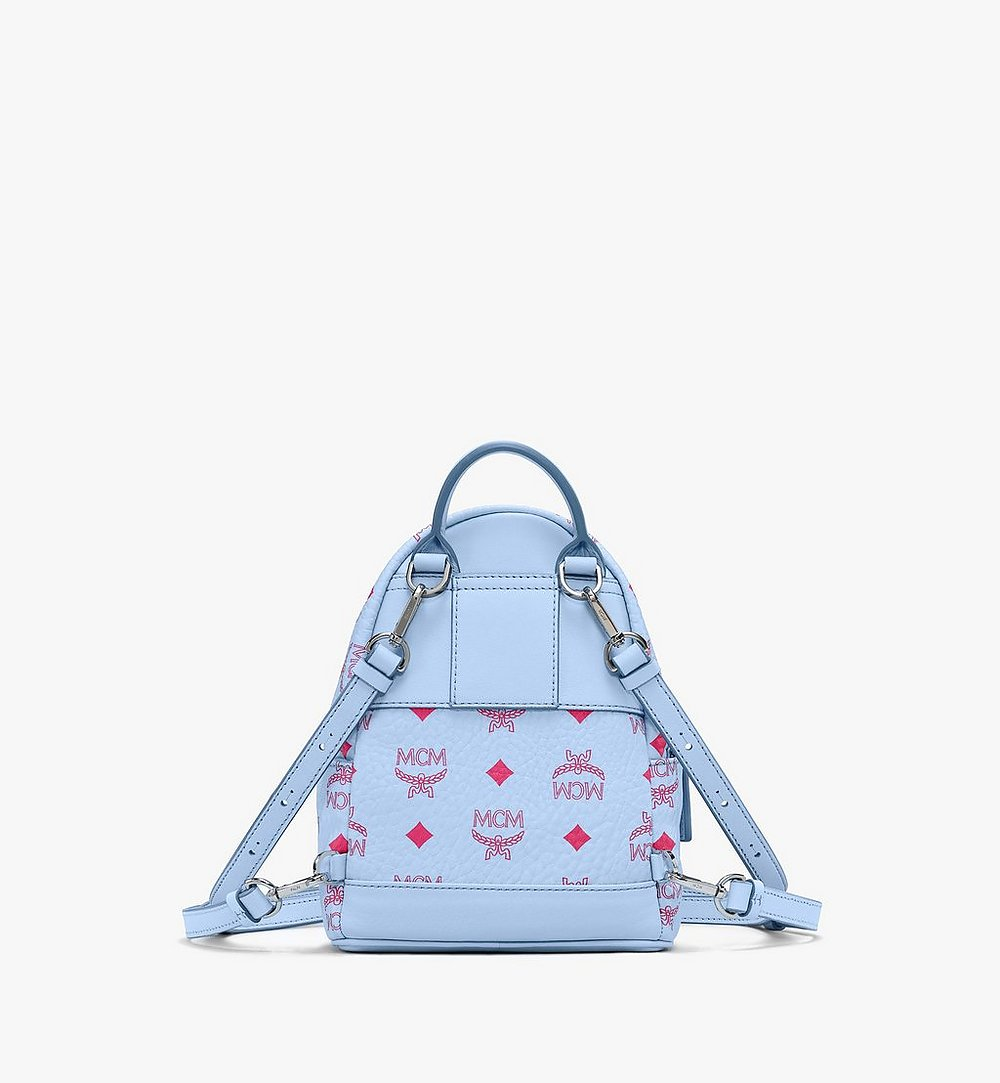 MCM Stark Bebo Boo Backpack in Visetos Blue MMKASVE14H2001 Alternate View 2