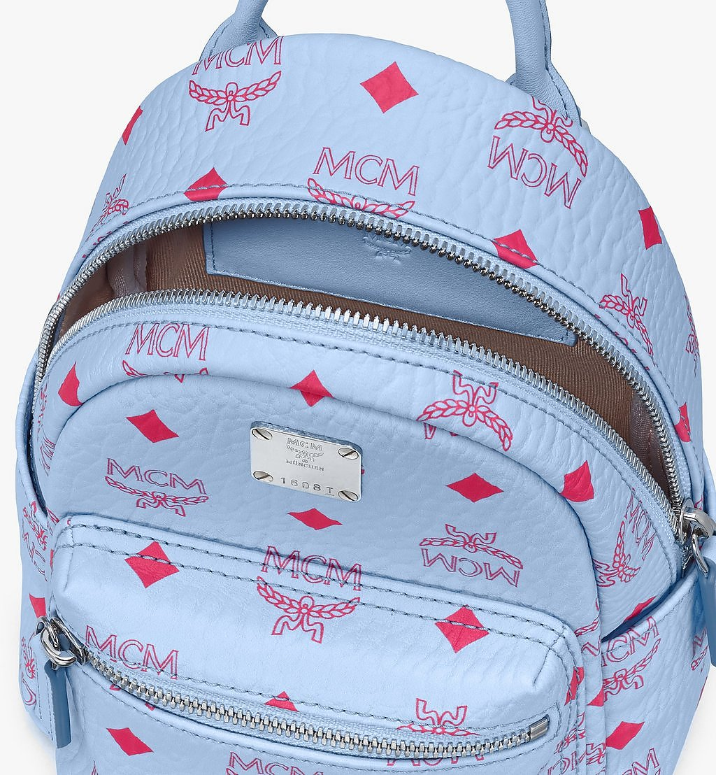 MCM Stark Bebe Boo Backpack in Visetos Blue MMKASVE14H2001 Alternate View 3