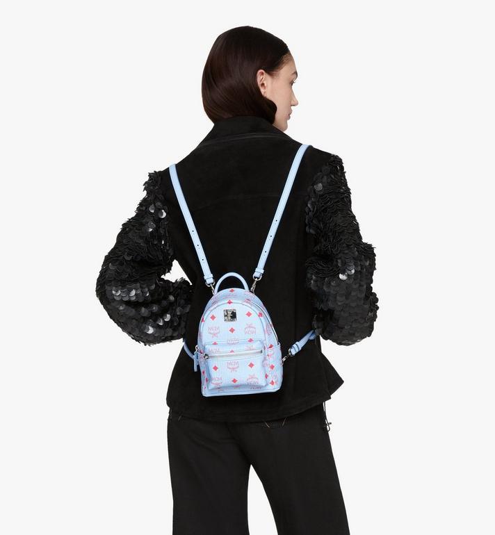 MCM Stark Bebo Boo Backpack in Visetos Blue MMKASVE14H2001 Alternate View 5