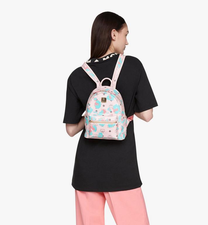 MCM Stark Backpack in Floral Leopard Pink MMKASVE23QI001 Alternate View 5