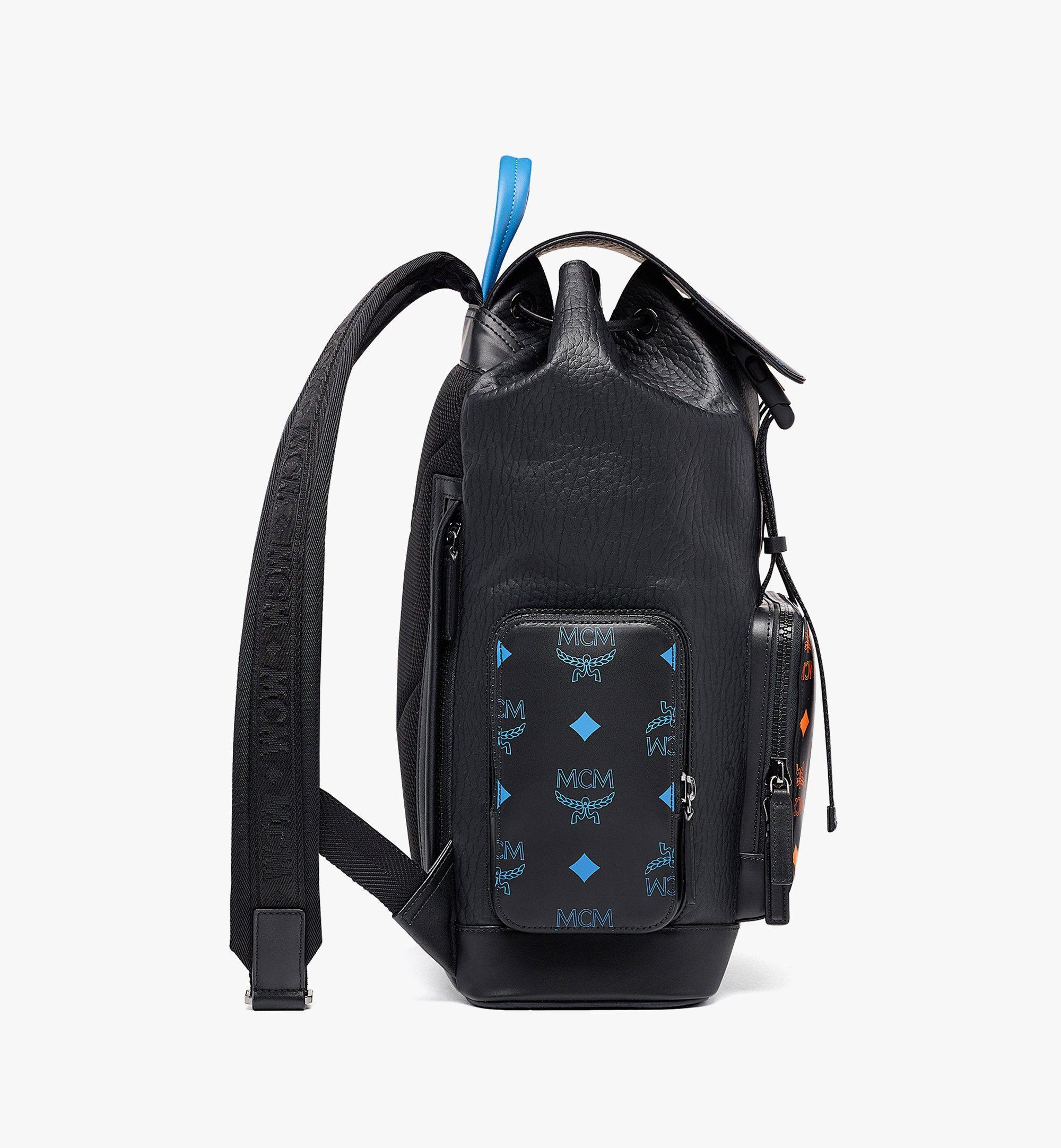 MCM Brandenburg Backpack in Color Splash Logo Leather Black MMKBASX01BK001 Alternate View 1