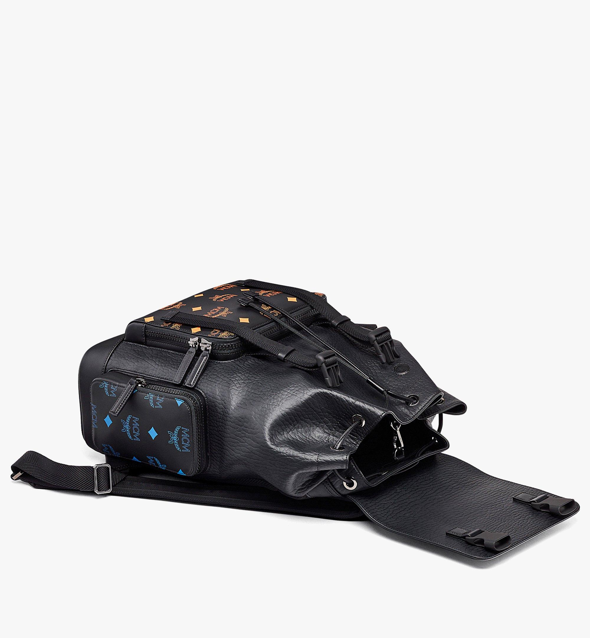 MCM Brandenburg Backpack in Color Splash Logo Leather Black MMKBASX01BK001 Alternate View 2