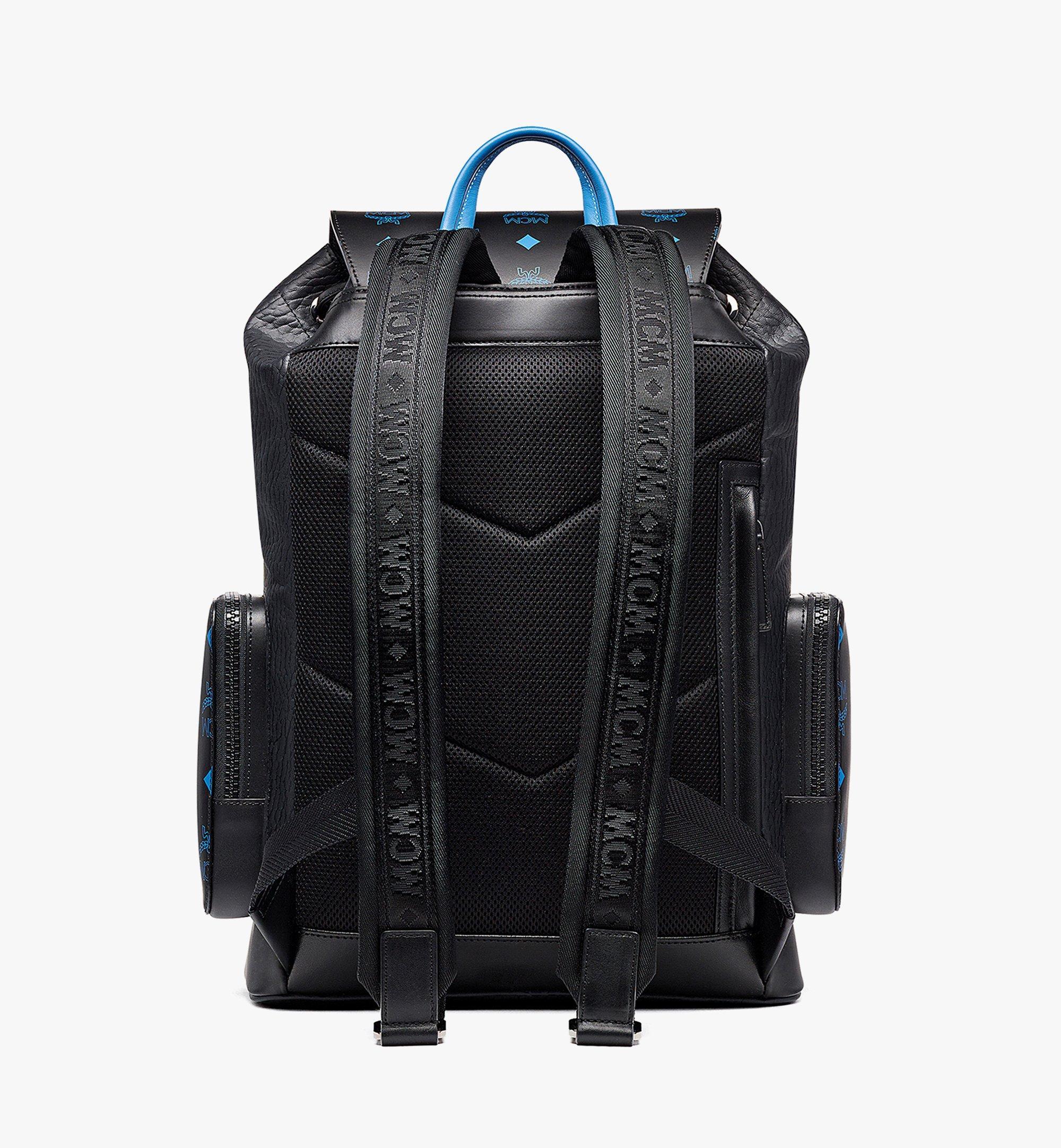MCM Brandenburg Backpack in Color Splash Logo Leather Black MMKBASX01BK001 Alternate View 3