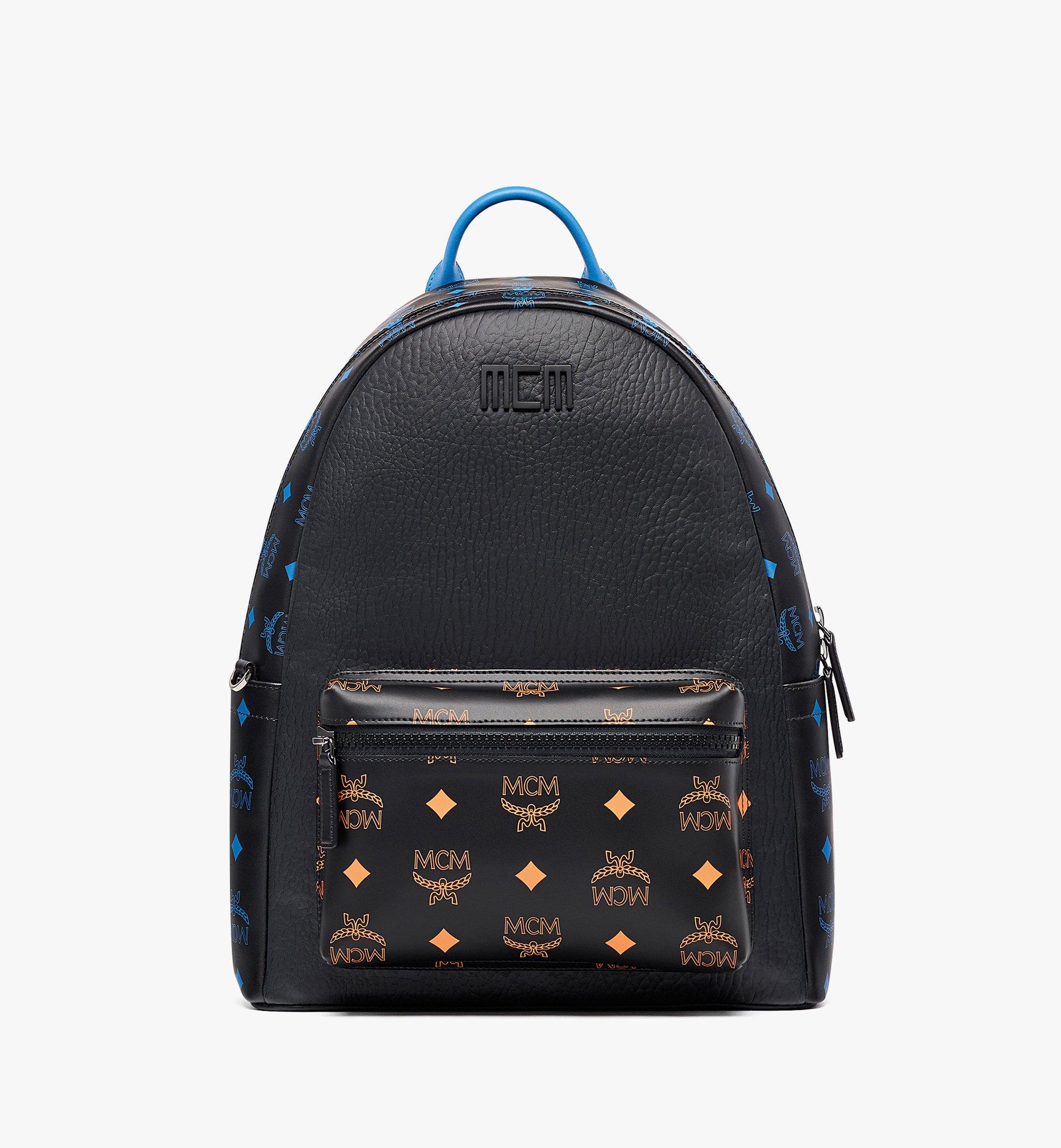 MCM Stark Backpack in Color Splash Logo Leather Black MMKBASX04BK001 Alternate View 1