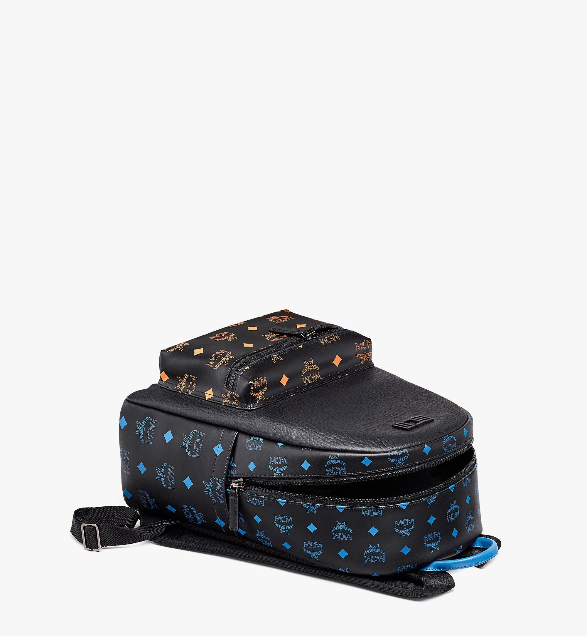 MCM Stark Backpack in Color Splash Logo Leather Black MMKBASX04BK001 Alternate View 2