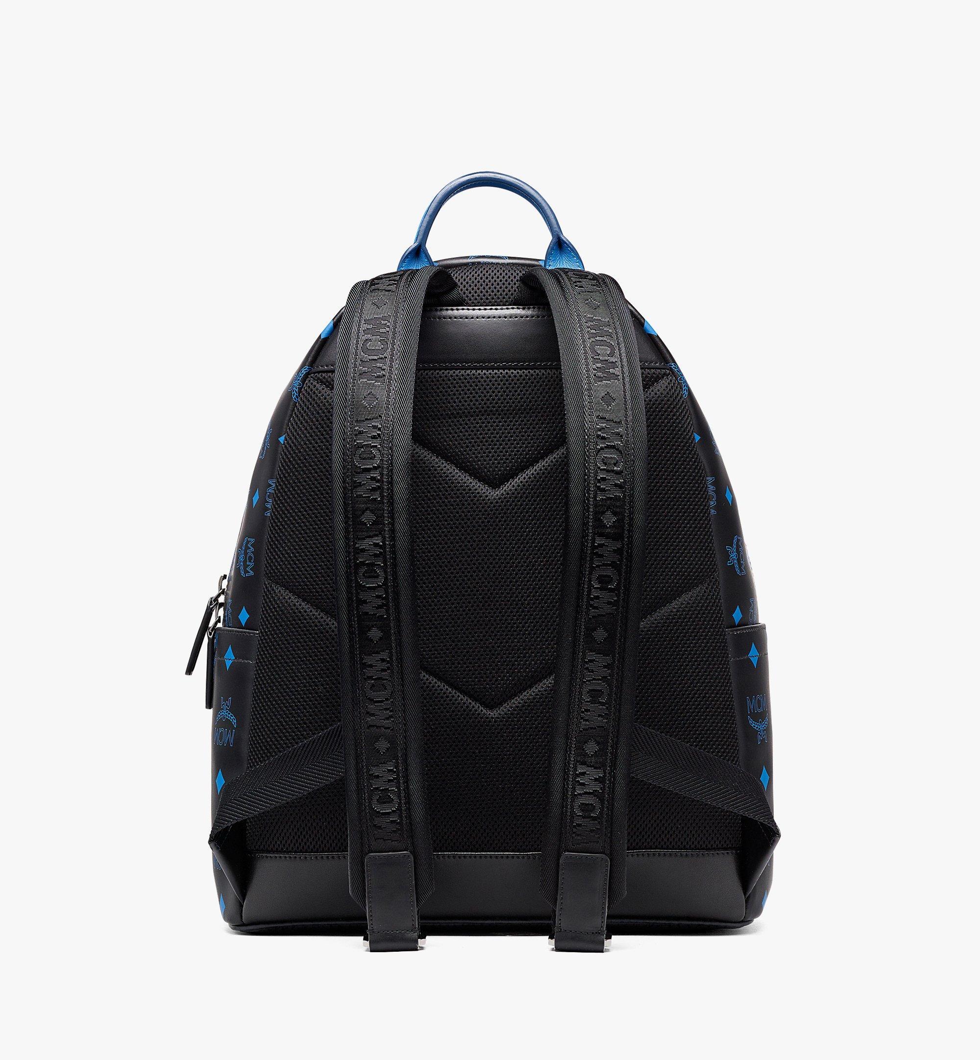 MCM Stark Backpack in Color Splash Logo Leather Black MMKBASX04BK001 Alternate View 3