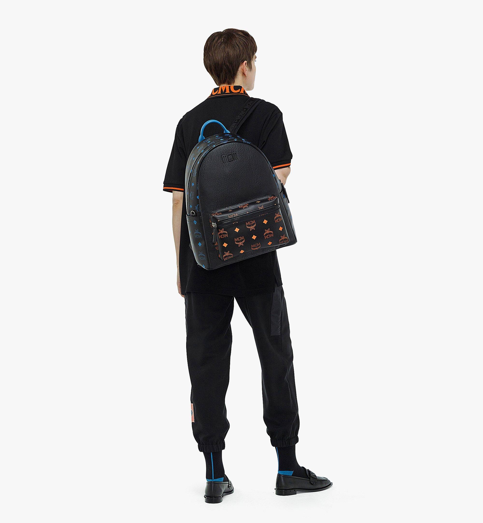 MCM Stark Backpack in Color Splash Logo Leather Black MMKBASX04BK001 Alternate View 4