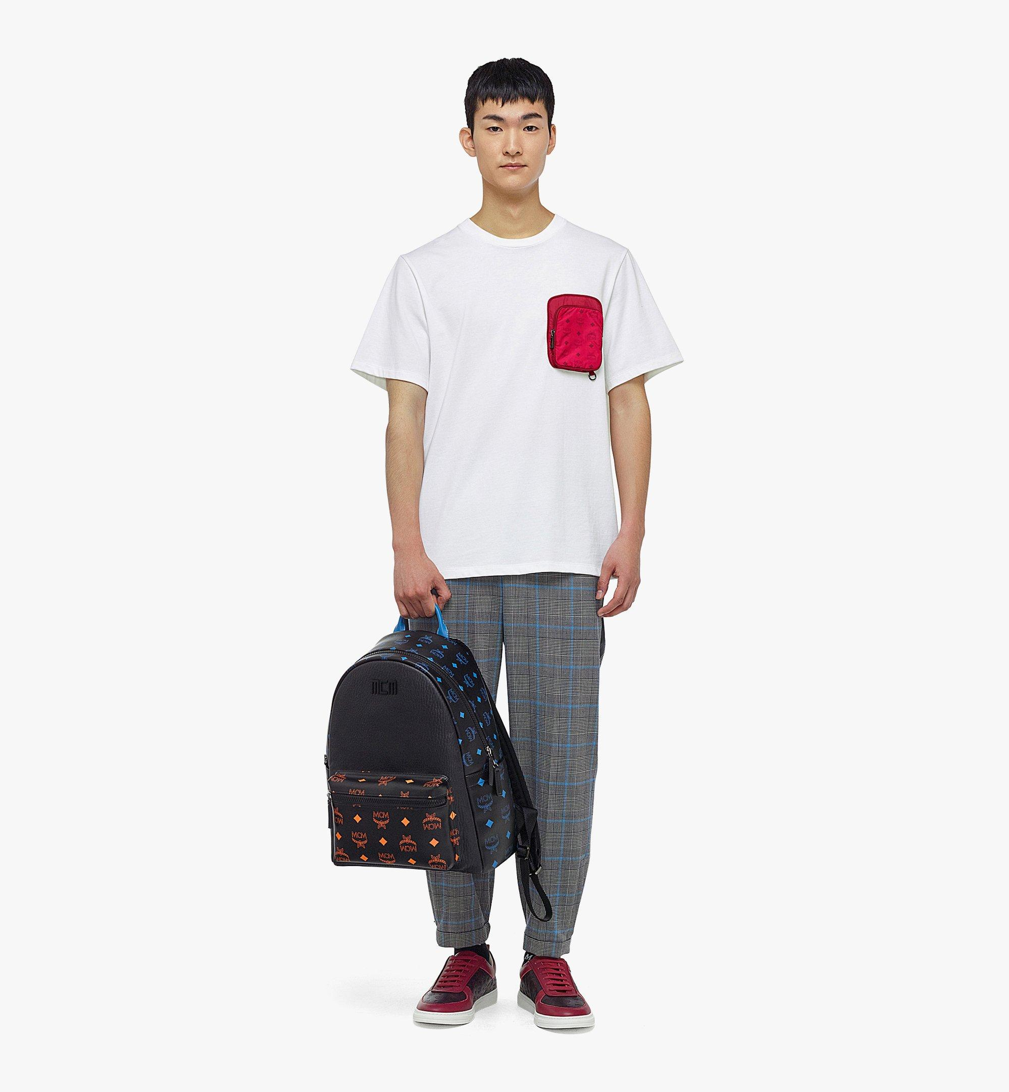 MCM Stark Backpack in Color Splash Logo Leather Black MMKBASX04BK001 Alternate View 5