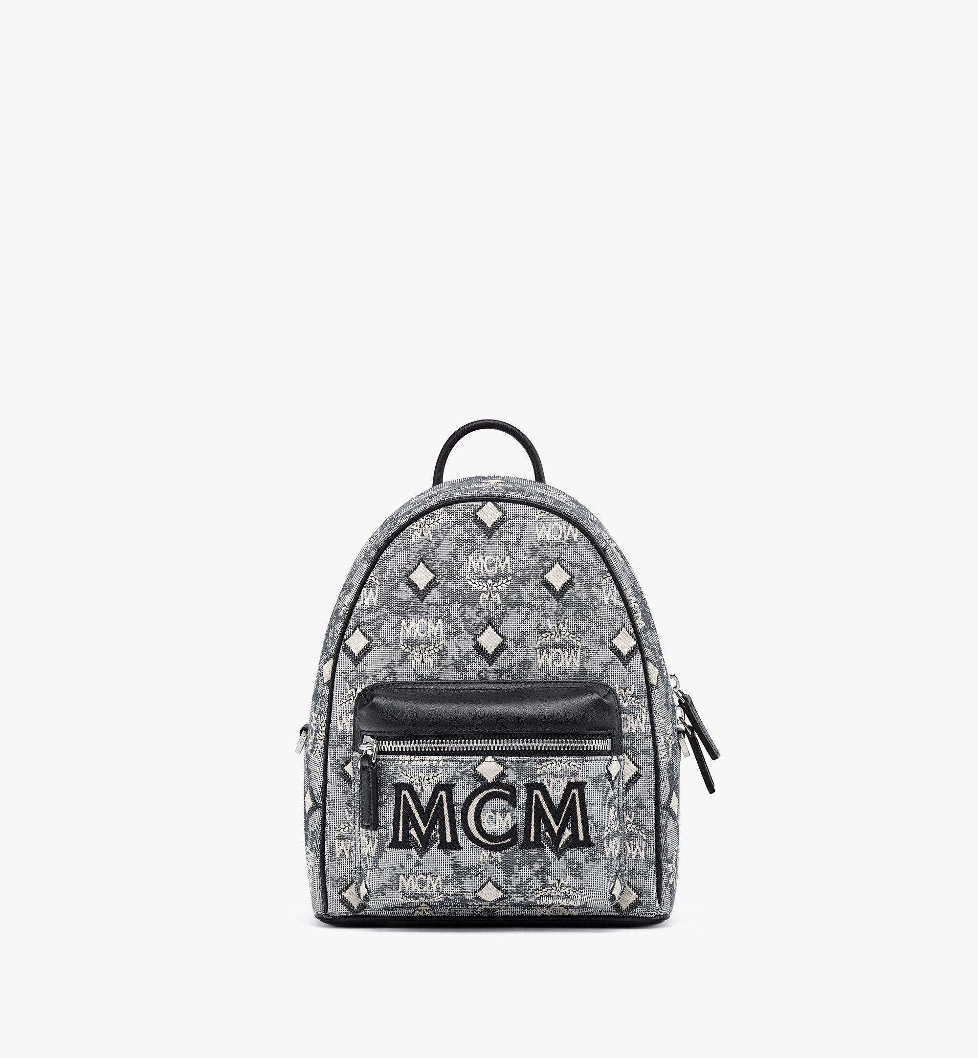 MCM Stark Backpack in Vintage Jacquard Monogram Grey MMKBATQ02EG001 Alternate View 1