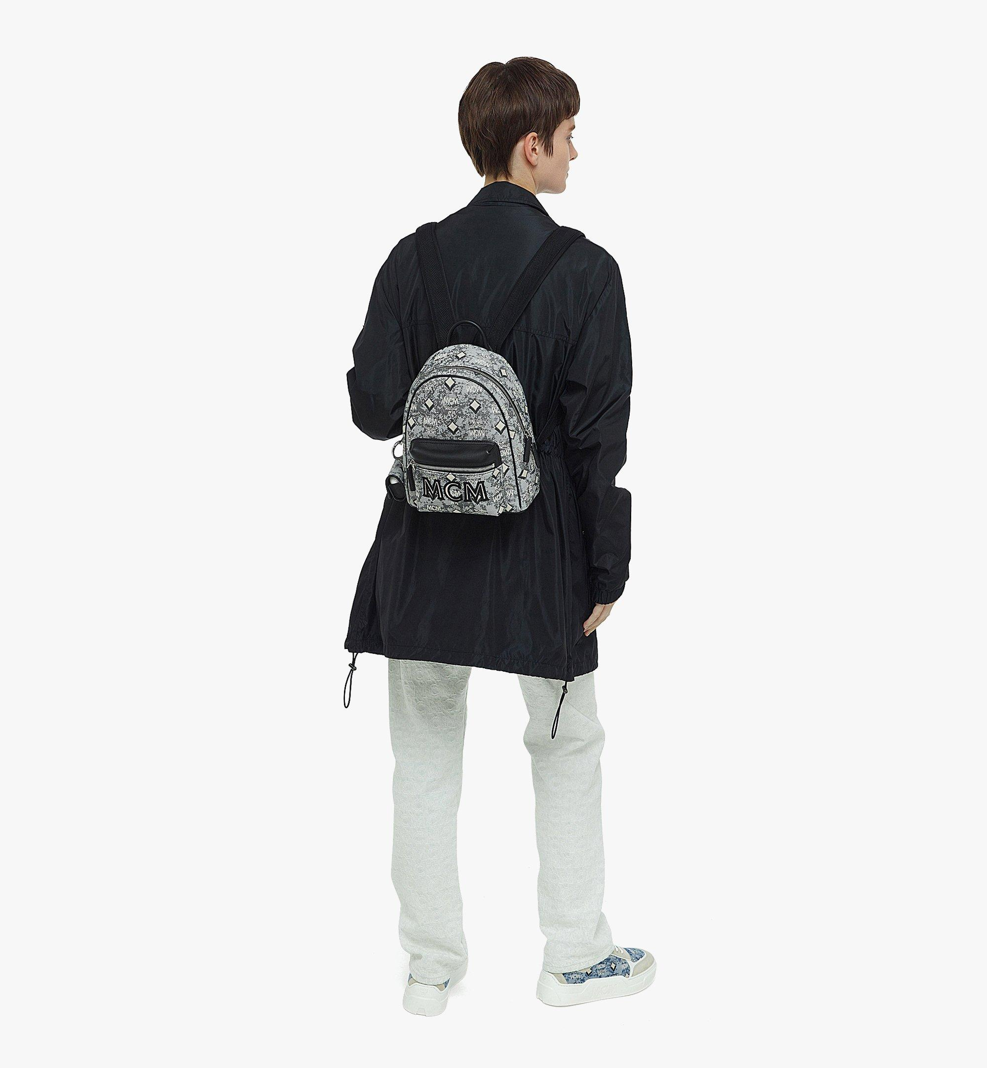 MCM Stark Backpack in Vintage Jacquard Monogram Grey MMKBATQ02EG001 Alternate View 2