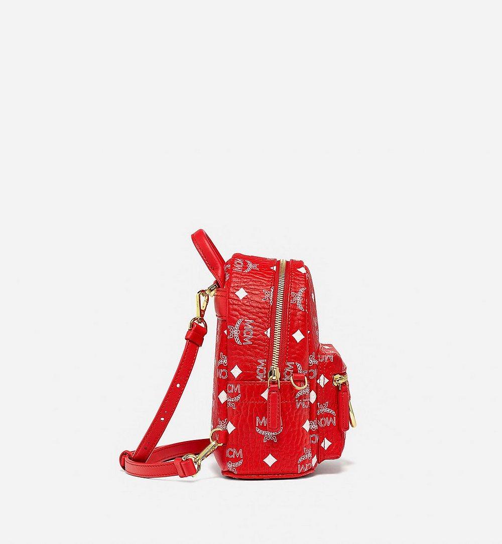 MCM Stark Bebe Boo Backpack in New Year Visetos Red MMKBSVE01AV001 Alternate View 1