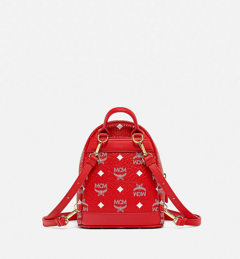 MCM Stark Bebe Boo Backpack in New Year Visetos Red MMKBSVE01AV001 Alternate View 3