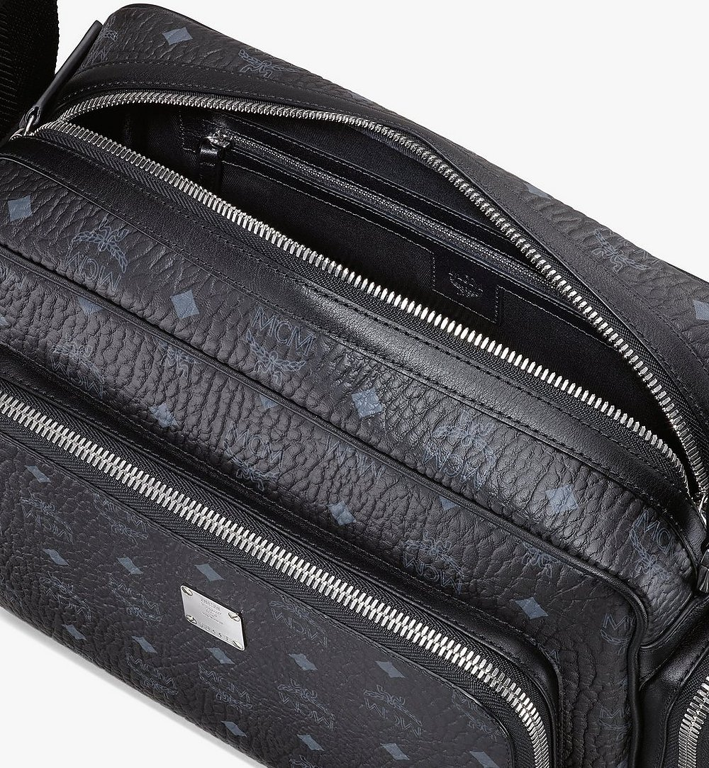 MCM Klassik Messenger in Visetos Black MMMASKC01BK001 Alternate View 3