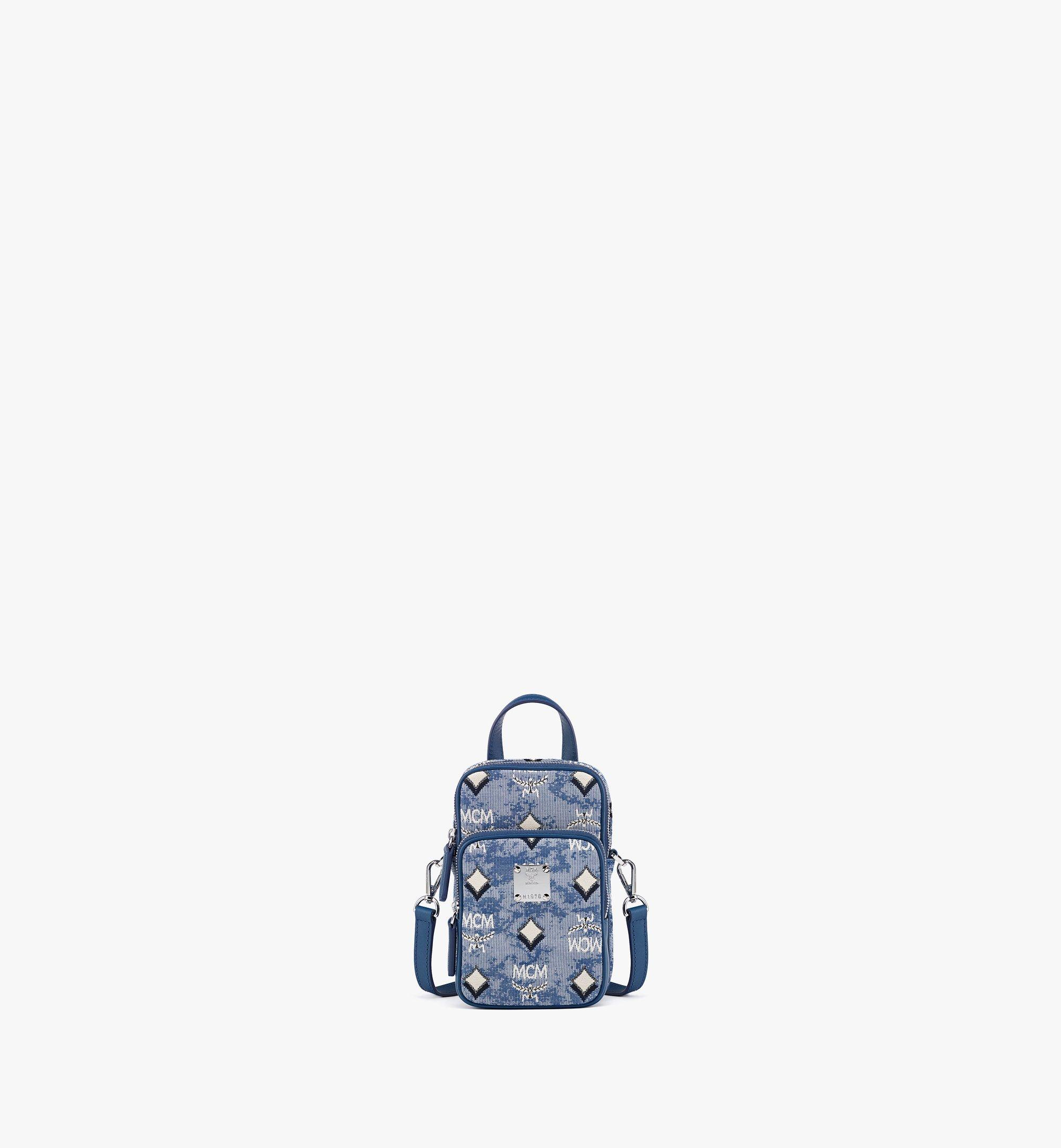 MCM N/S Crossbody Bag in Vintage Jacquard Monogram Blue MMRBATQ02LU001 Alternate View 1