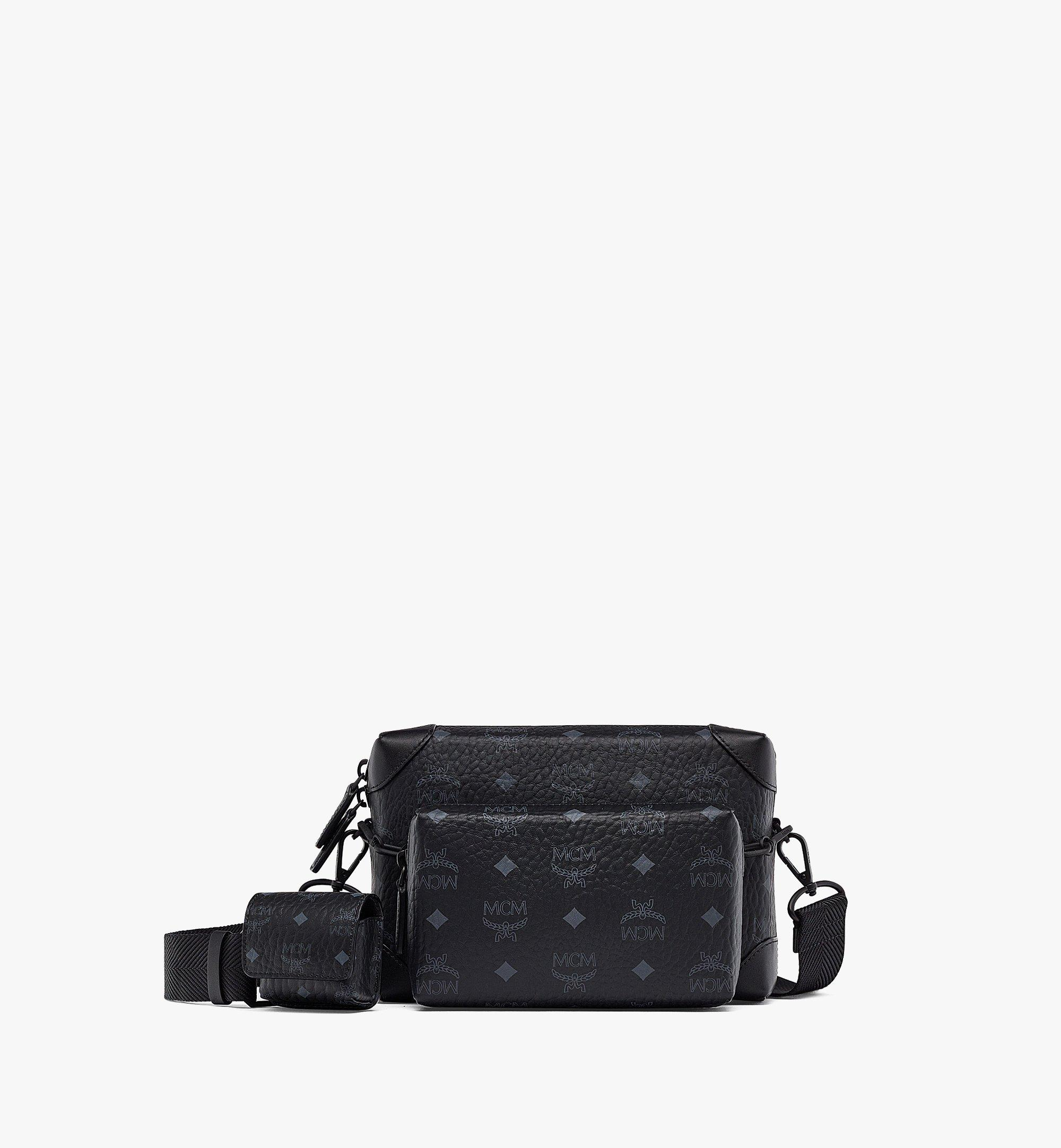 MCM Soft Berlin Multifunction Crossbody in Visetos Black MMRBSBF05BK001 Alternate View 1
