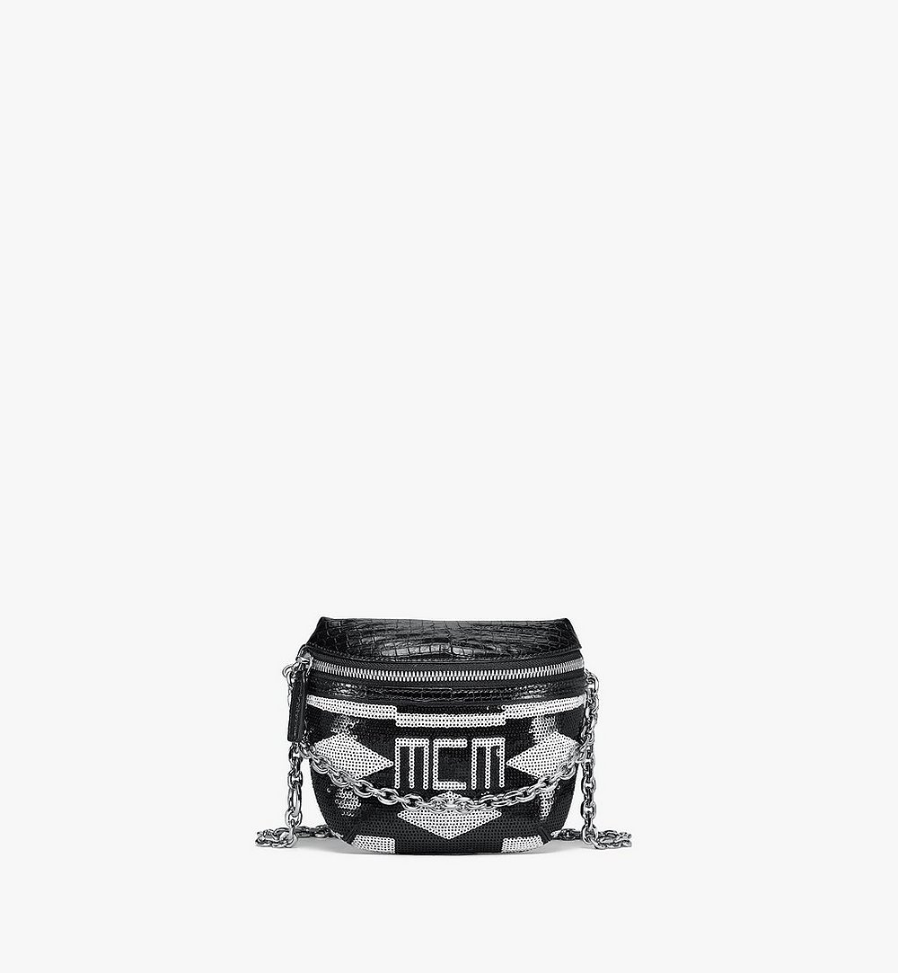 MCM Klassik Crossbody in Geo Croco Sequin Leather Black MMRBSKC06BK001 Alternate View 1